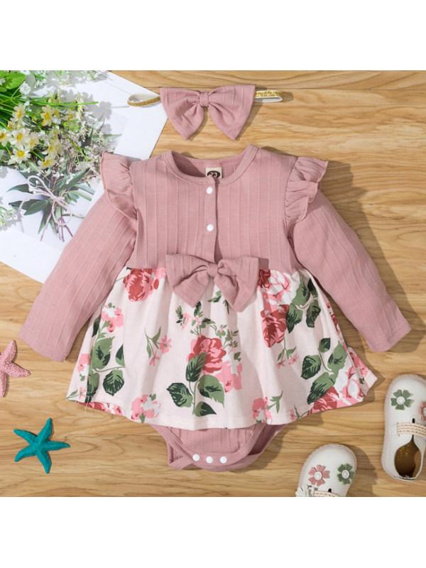 【3M-18M】Cute Floral Print Pink Romper