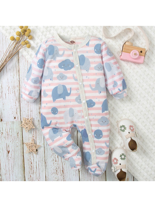 【0M-18M】Lovely Pink Stripe And Cloud Print Long Sleeve Romper