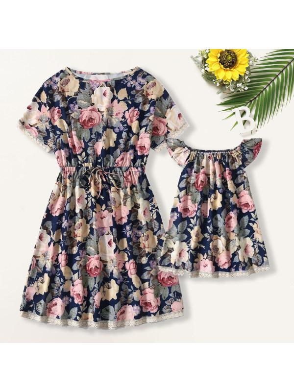 Sweet Blue Floral Mom Girl Dress