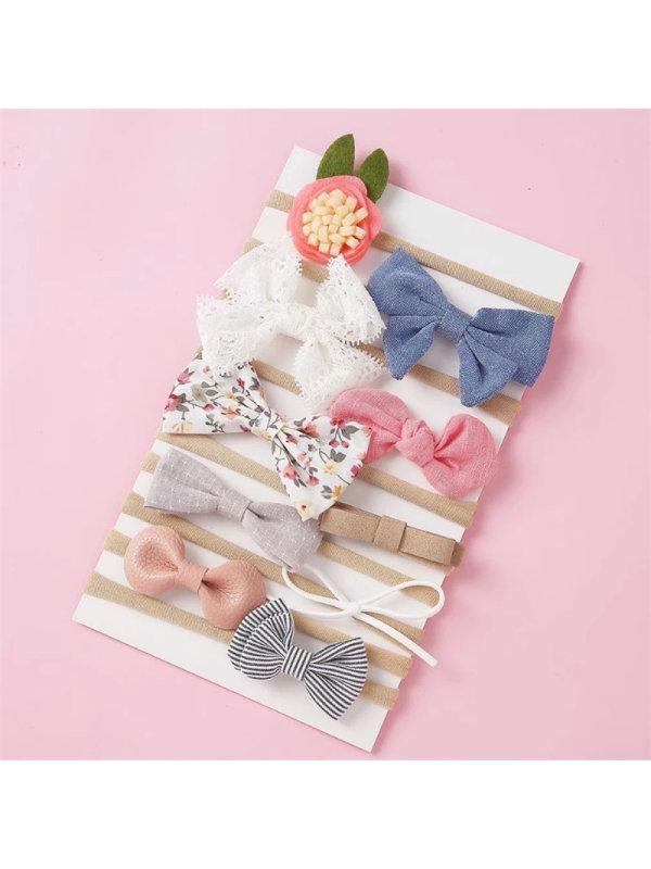 10-piece Set Of Handmade Fabric Bow Hair Tie Set