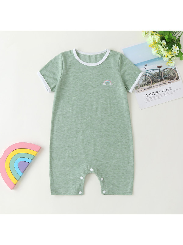 【3M-3Y】Baby Embroidered Small Rainbow Solid Color Short-sleeved One-piece Romper