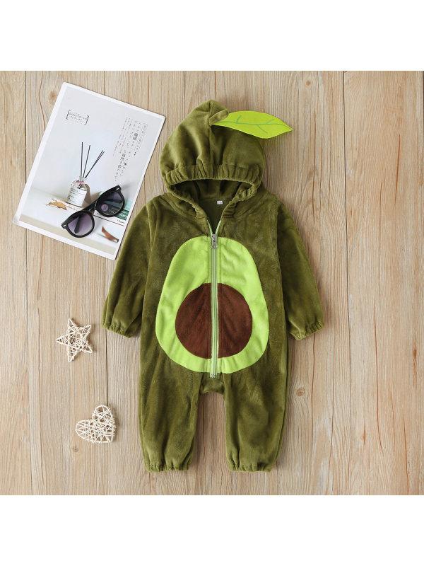【6M-3Y】Baby Avocado Hooded Jumpsuit