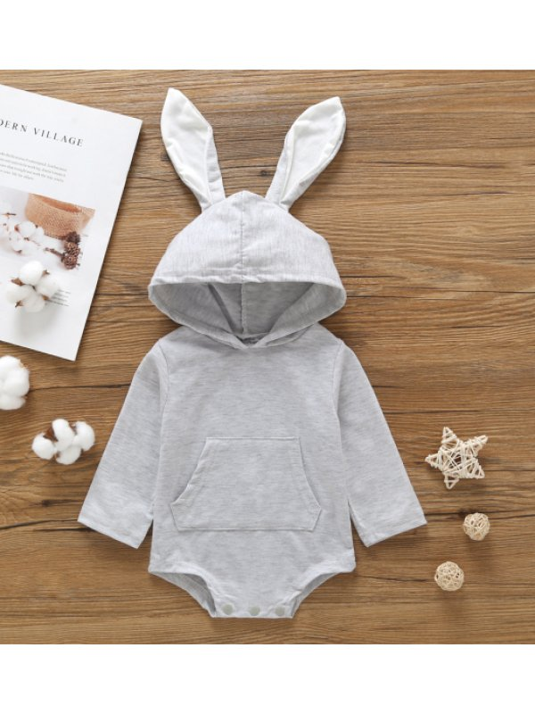 【6M-3Y】Baby Autumn Long Sleeve Bunny Hooded Romper