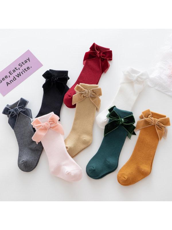 Velvet Big Bow Middle Stockings