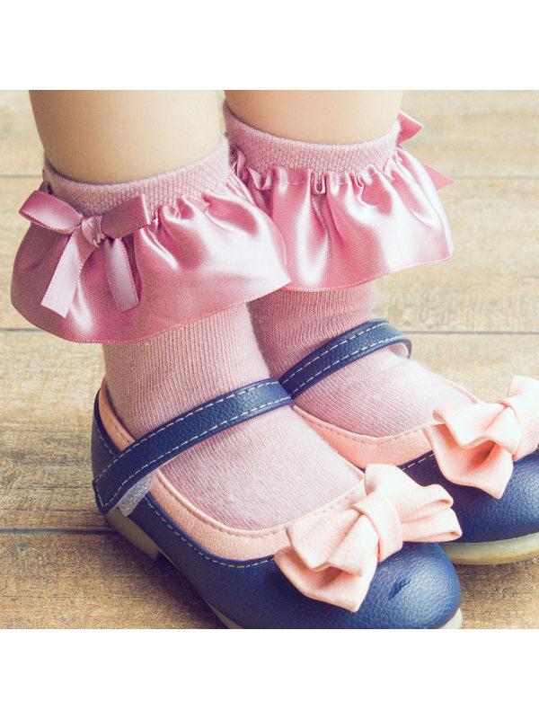 Bowknot Satin Lace Short Boneless Hand-sewn Large Lace Princess Socks