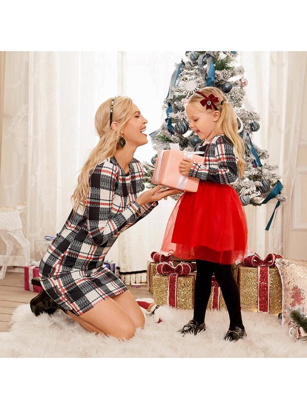 Round Neck Long Sleeve Plaid Red Mesh Knitting Mom Girl Matching Dress