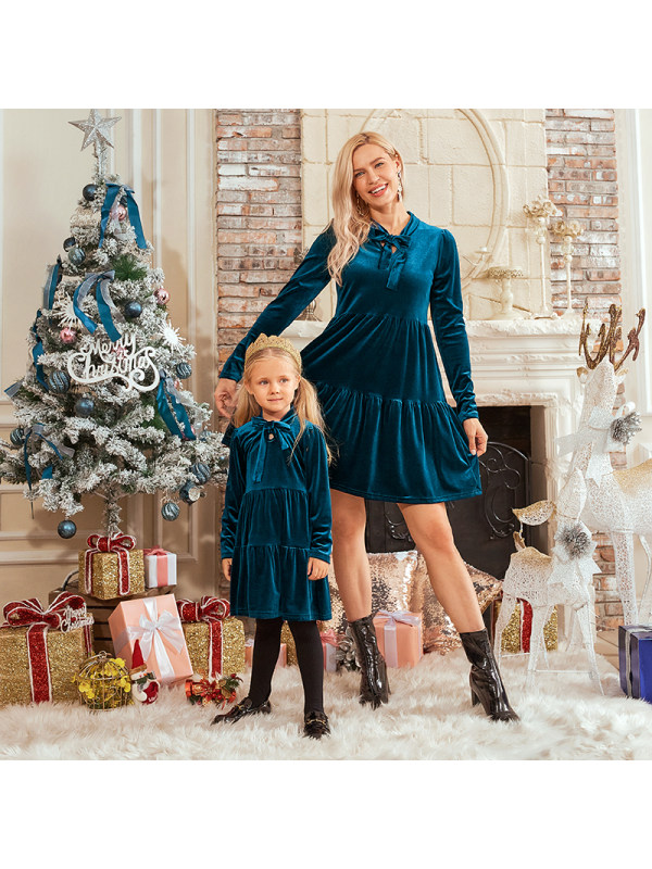 Elegant Long Sleeve Velvet Mom Girl Matching Dress With Tie - 1308