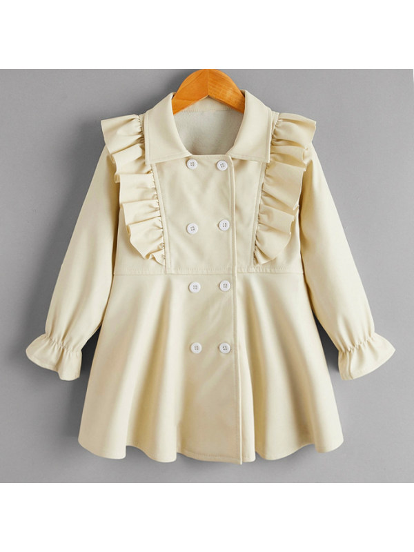 【18M-7Y】Elegant And Sweet Apricot Leather Outwear