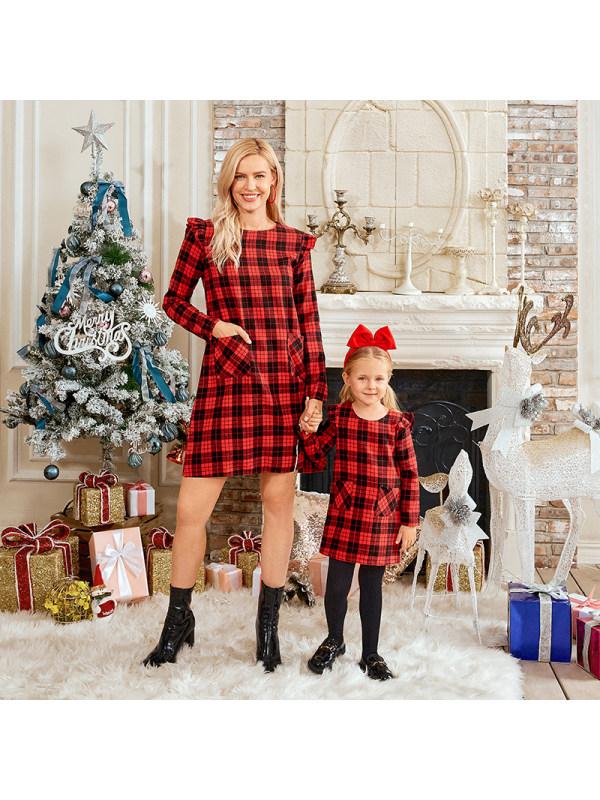 Long Sleeve Red Plaid Mom Girl Matching Dress
