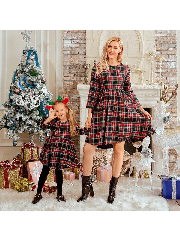 Long Sleeve Blue Plaid Mom Girl Matching Dress