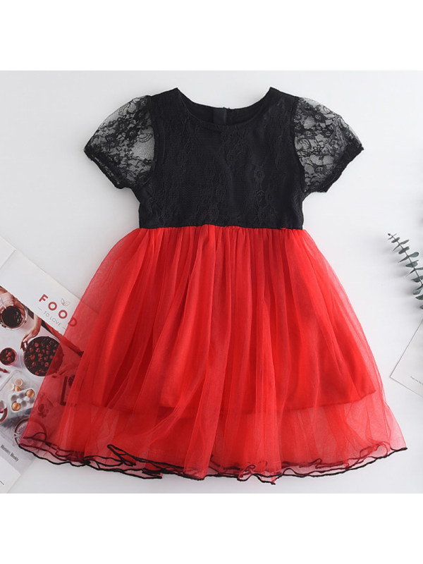 【18M-7Y】Girls Sweet Lace Mesh Short Sleeve Dress