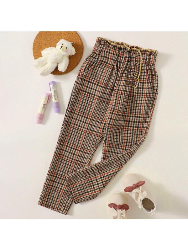 【18M-7Y】Sweet Khaki Plaid Pants