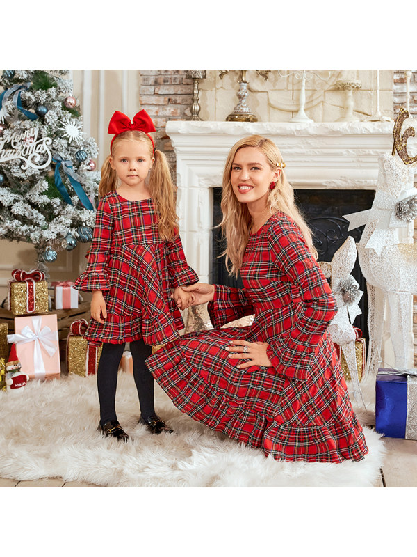 Red Plaid Flared Sleeve Mom Girl Matching Dress