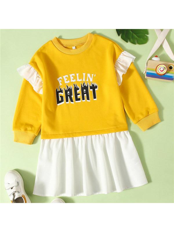 【18M-7Y】 Sweet Casual Letter Print Sweatshirt Dress