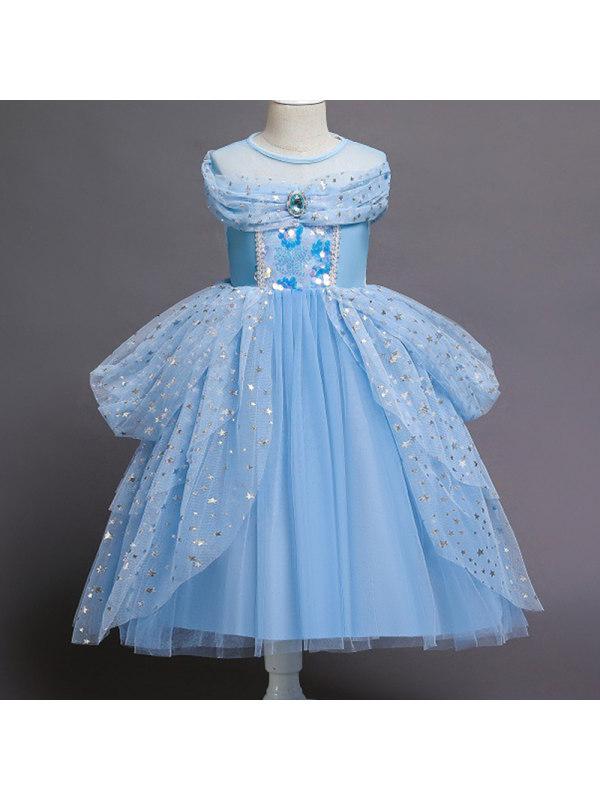 【3Y-11Y】Girl Sweet Blue Sequined Mesh Princess Dress