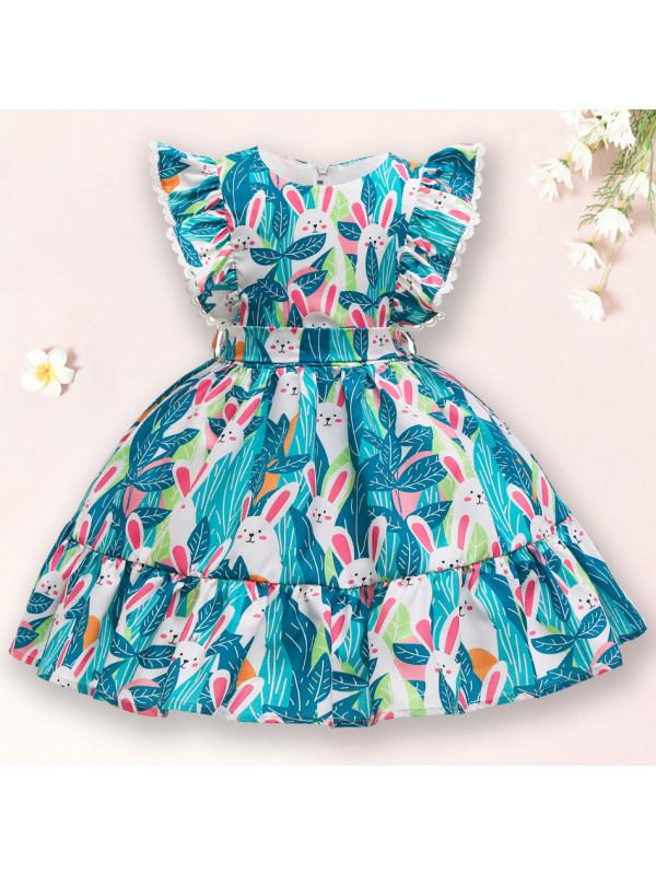 【2Y-10Y】 Cute Rabbit Print Green Dress