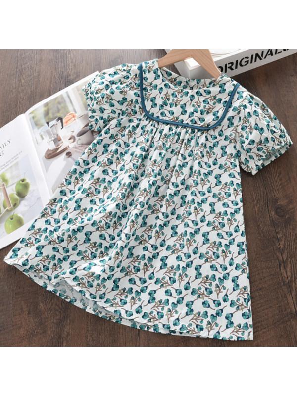 【18M-7Y】Girl Sweet Green Floral Short Sleeve Dress