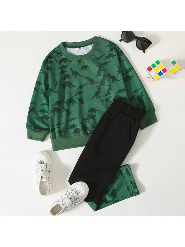 【18M-7Y】Casual Dinosaur Print Green Sweatshirt Set