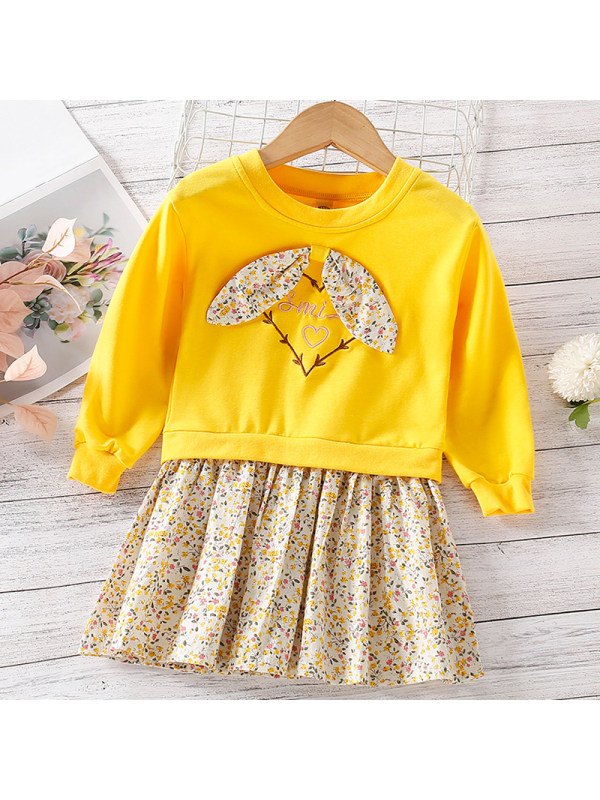 【18M-7Y】Girl Sweet Yellow Floral Long Sleeve Dress
