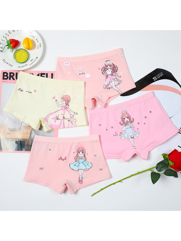【2Y-15Y】Girls' Cartoon Print Shorts 4-piece Set