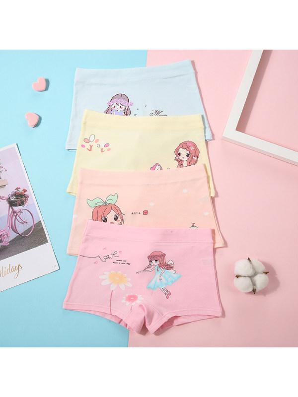 【2Y-15Y】Girls' Cartoon Print Shorts 4-piece Suit