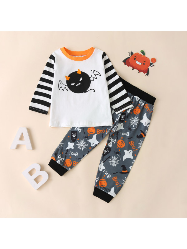 【12M-5Y】Boy Halloween Style Striped Top Pants Two-piece Suit