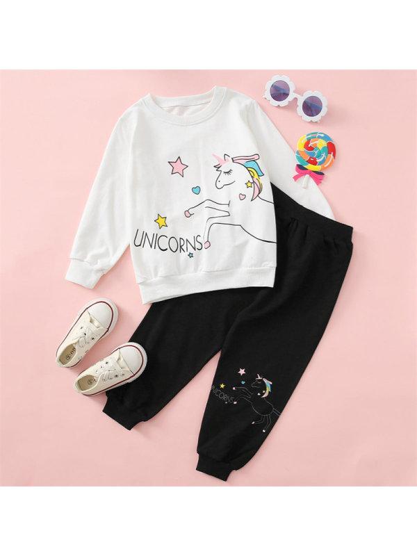 【18M-7Y】Girls Cute Cartoon Unicorn Print Long-sleeved Sweatshirt Pants Suit