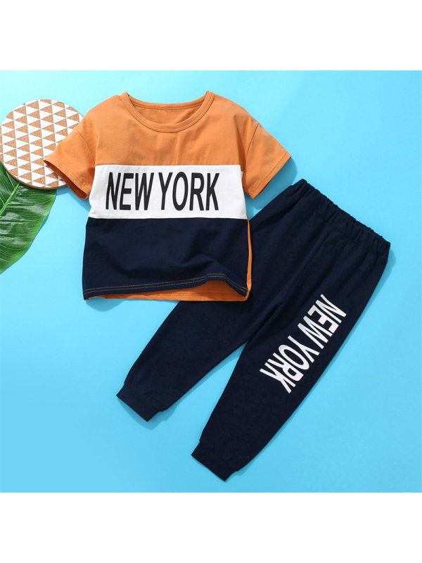 【18M-7Y】Boy Character Yellow Mother Stitching Multicolor Short-sleeved Trousers Suit