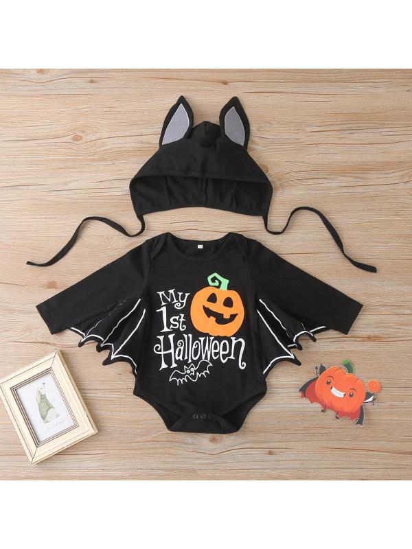 【6M-3Y】Baby Halloween Pumpkin Print Triangle Romper
