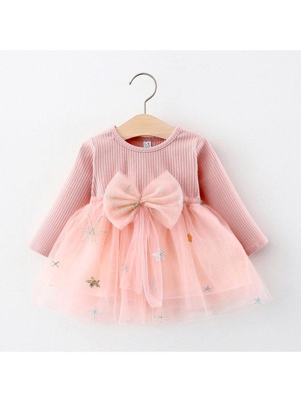 【12M-4Y】Baby Net Gauze Big Bow Long Sleeve Dress