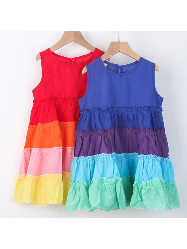 【18M-7Y】Girl Sweet Rainbow Sleeveless Dress