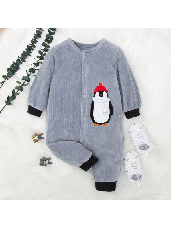 【3M-18M】 Cute Penguin Embroidered Gray Long Sleeve Romper