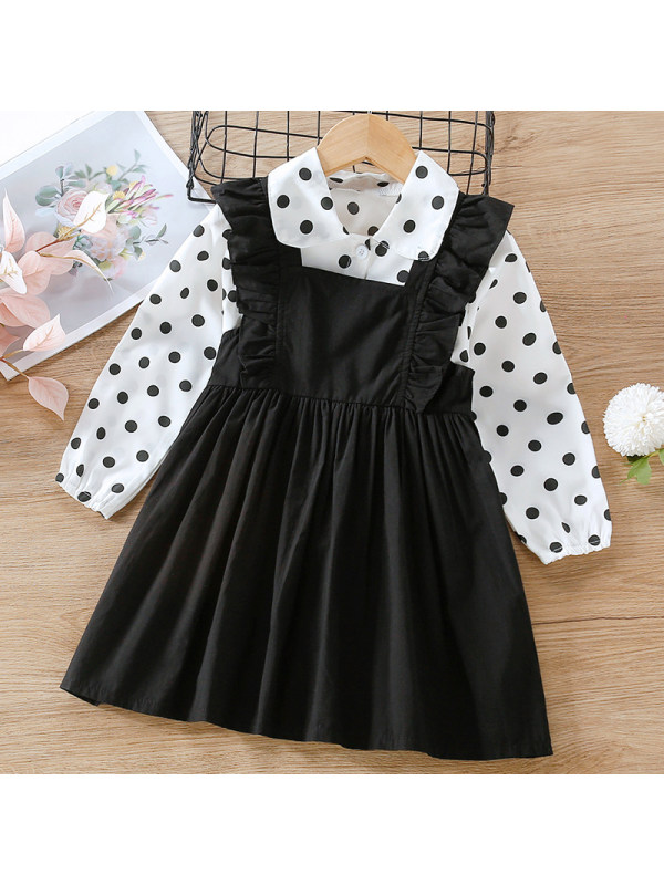 【18M-7Y】Girl Sweet Black Polka Dot Shirt Strap Skirt Set