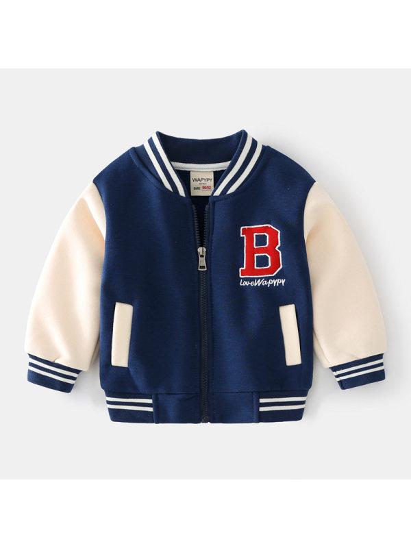 【18M-7Y】Boys Embroidered Baseball Uniform Jacket