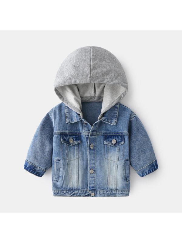 【18M-9Y】Boys Denim Jacket With Detachable Hat