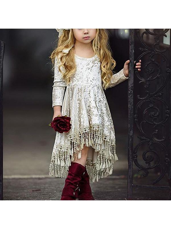 【12M-5Y】Girls Long Sleeve Velvet Dress