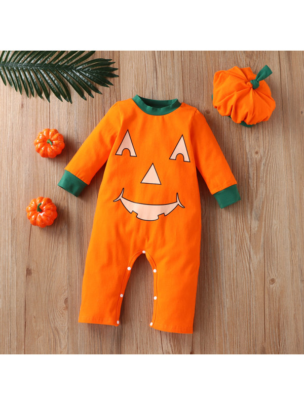 【3M-18M】Baby Boy Long-sleeved Halloween One-piece Romper