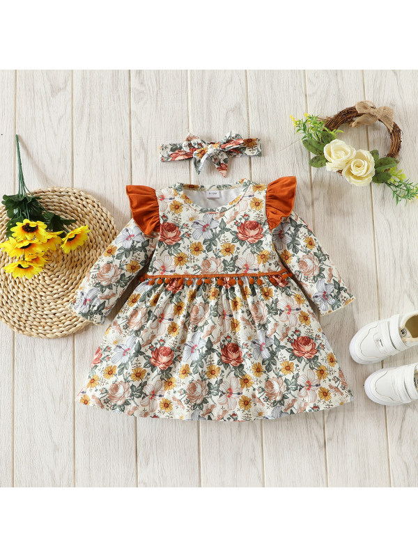 【3M-3Y】Girls Long-sleeved Floral Dress