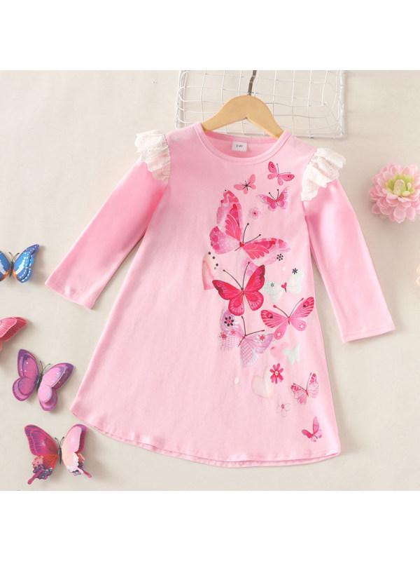 【18M-6Y】Girls Butterfly Print Long Sleeve Dress
