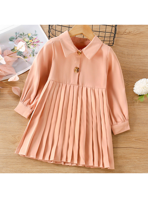 【12M-5Y】Girl Sweet Solid Color Long-sleeved Pleated Dress