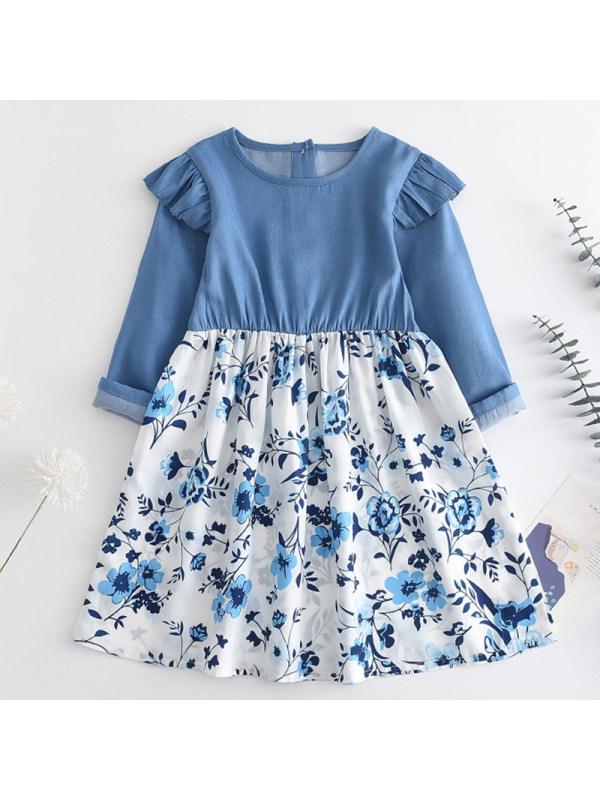 【2Y-9Y】Girl Sweet Blue Denim Floral Stitching Dress