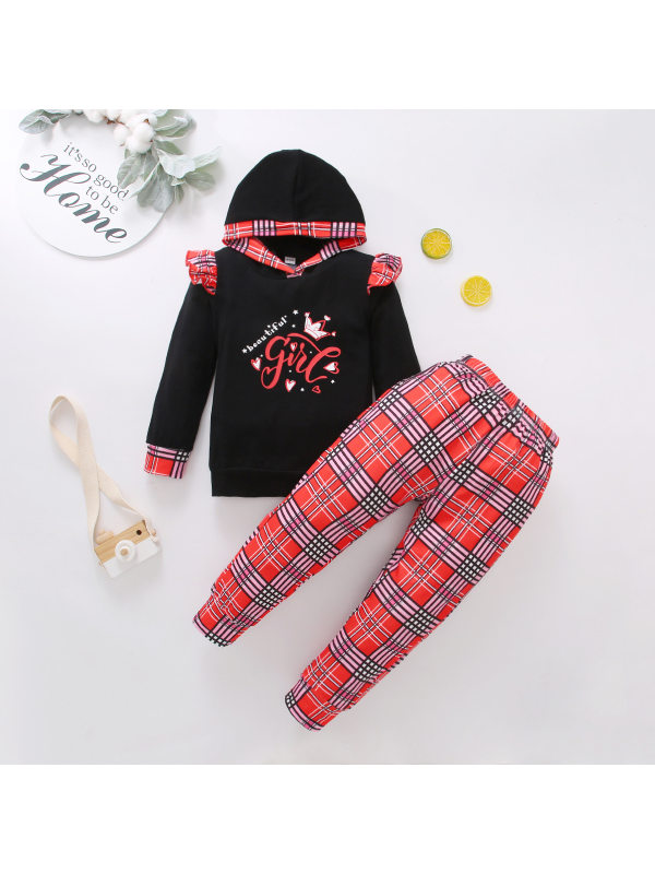 【18M-7Y】Girls Plaid Stitching Long-sleeved Two-piece Suit