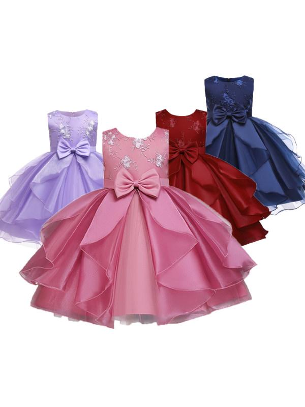 【3Y-10Y】Girls Sleeveless  Irregular Embroidered Princess Dress