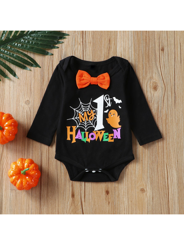【9M-3Y】Baby Bowknot Long-sleeved Halloween Series Triangle Romper
