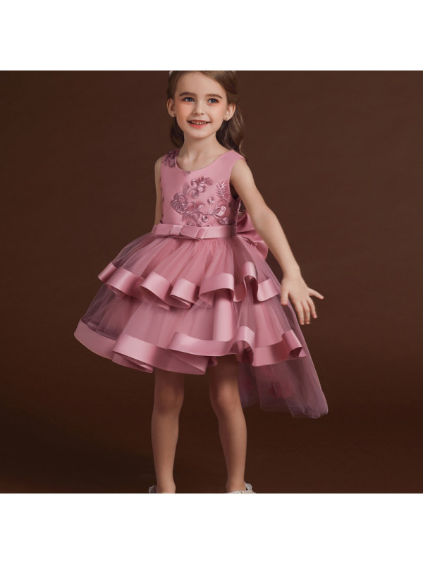 【3Y-10Y】Girls Lace Embroidery Irregular Mesh Cake Dresses