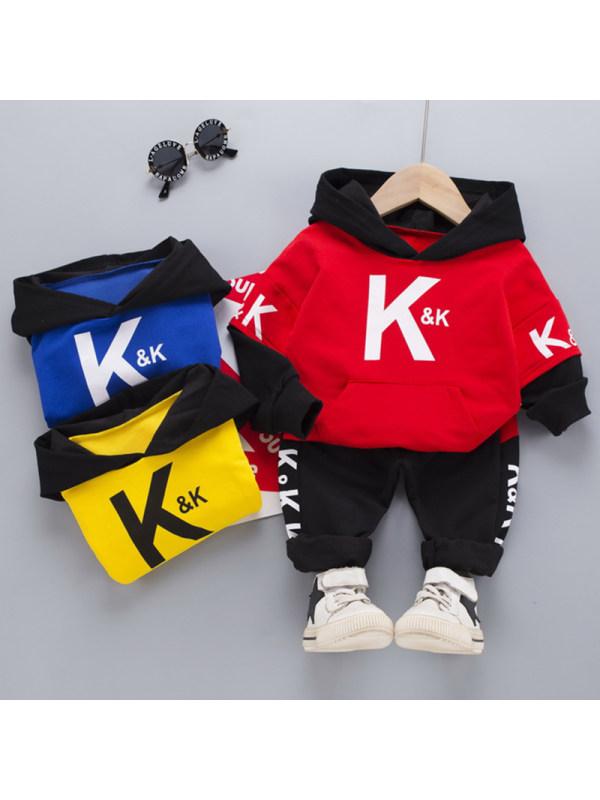 【12M-5Y】Boys Fashion Letter Pattern Hooded Sweatshirt Pants Set