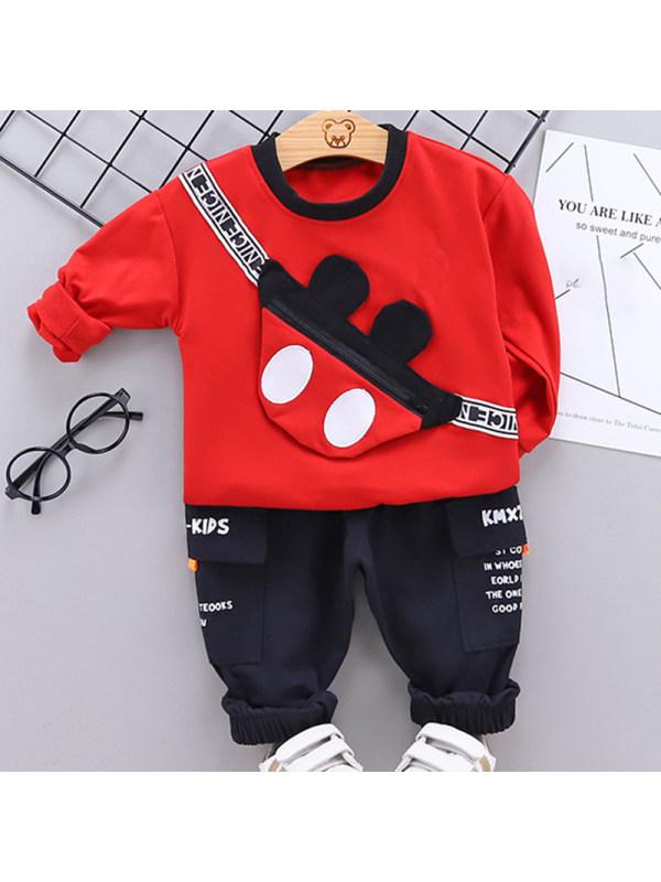 【12M-5Y】Boy Fashion Red Sweatshirt Black Pants Set