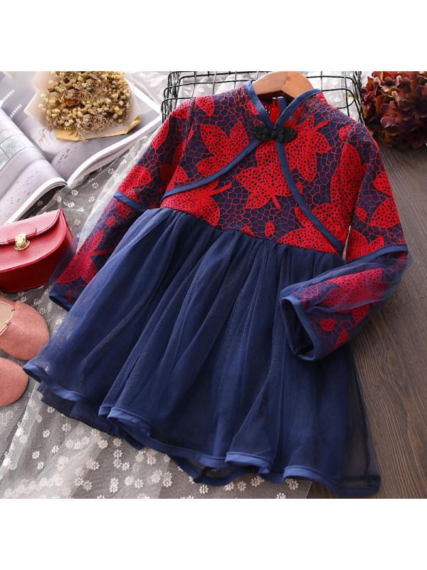 【18M-7Y】Girls Sweet Lace Mesh Long Sleeve Dress