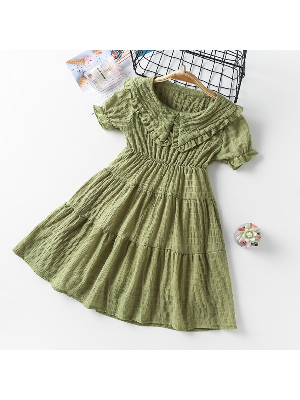 【3Y-13Y】Girls Solid Color Lapel Puff Sleeve Dress