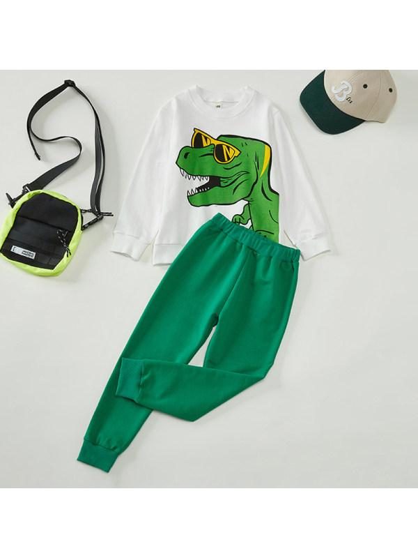 【18M-7Y】Boys Dinosaur Print Long Sleeve Two-piece Suit